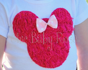 The Mouse Collection by Chic Baby Rose Lace Ruffle Mouse Tee Tank or Long Sleeve in your choice of 21 colors