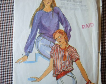 vintage 1980s Butterick sewing pattern 6953  misses pullover knit top size 10-12-14