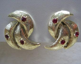 Gold Red Rhinestone Earrings Clip Vintage