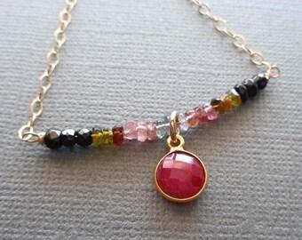 Colorful Choker Necklace / Natural Tourmaline Ruby Necklace / July Birthday Gift / Tourmaline Choker / Ruby Drop / Stone Choker // GS16