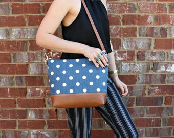 Blue Polka dot Bag with Faux Leather Strap