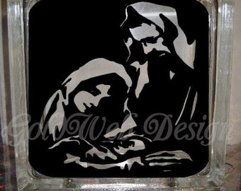 DIY DIY Decal for Glass Blocks - Joseph and Mary and baby Jesus Glass Block Decal