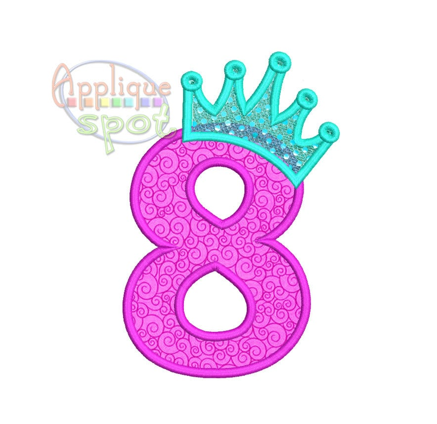 Princesa corona octavo 8vo cumplea os n mero 8 4 x 4 5 x 7 for Descargar embroidery office design 7 5 full
