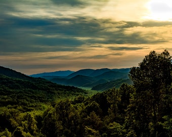 "Mountain Sunset Photograph Print  ""Gatlinburg Sunset"" 8x12 (& larger) Fine Art Photo, Tennessee Valley Smoky Mountain Rustic Wall Art Decor"