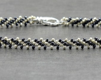 Hematite Anklet - Seed Bead Jewelry - Chain Ankle Bracelet - Beaded Jewelry - Summer Anklet - Beach Jewelry