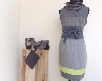 Wool Dress L-XL grey and yellow