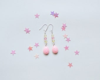 pink earrings, elegant earrings, boho earrings, sterling silver earrings, pastel pink earrings, pink and yellow jewellery, yellow earring