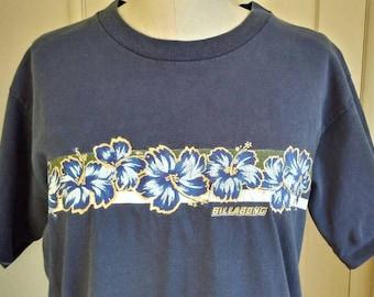 RARE 90s Billabong t-shirt, glitter gold plumerias, floral aloha surfer tee, USA made, mens medium, womens large