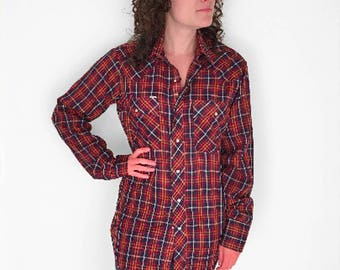 Sawtooth WESTERN Shirt 70s CHUTE #1 Snap Oxford Plaid Size Med