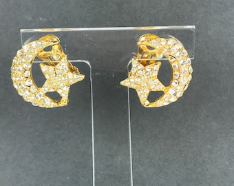 Vintage moon star rhinestone clip on gold earrings