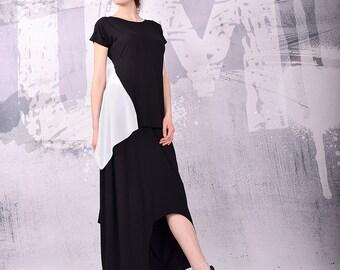 Tunic, Asymmetrical Tunic, Plus Size Tunic, Oversized Tunic, Black Tunic Top, Loose Tunic, Short Sleeves Top by UrbanMood - UM-147-VL