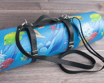 Genuine Leather carrier Strap for picnic blanket roll, yoga mat, hiking, camping fishing traveling tourist accessories.