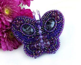 Purple amethyst embroidered butterfly brooch, embroidery gemstone beaded pin, amethyst gem jewelry, February birthstone romantic insect gift