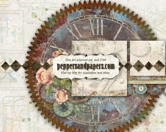 Steampunk Printable layout  - Premade 24x12 Instant double page, Scrapbook pages  - Journey