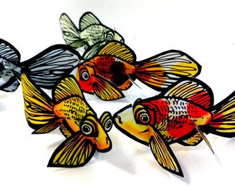 Fish Goldfish Koi Pisces Set of 5 - Printable Toy