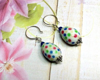 Easter Egg Earrings, Lampwork Egg Earrings, Polka Dot Egg Earrings, Easter Earrings, Holiday Earrings, Easter Jewelry, Dangle Earrings