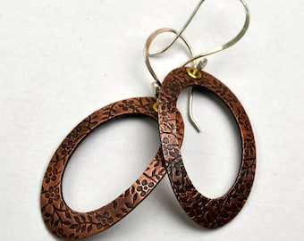 Copper Earrings Rolling Mill Texture Hoops Sterling Silver Ear Wires