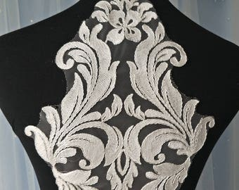 2pcs 50x22cm wide ivory dress embroidery dress appliques patches G24R37P0130T free ship