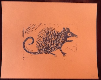 Dirty Rat Linocut Print, Hand Pulled, 8x10 Inches, Cardstock