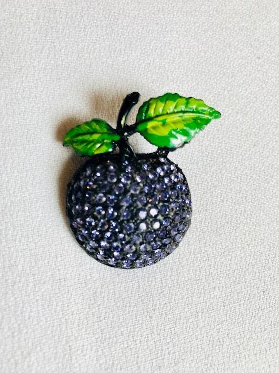 Beautiful Black Japanned Metal Purple Rhinestone Plum Grape Fruit Vintage Pin