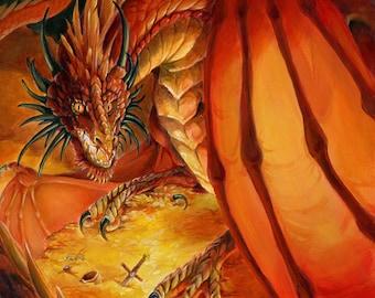 Stolen Hoard - ORIGINAL Acrylic Painting - Fire Breathing Dragon on Gold Fantasy Art