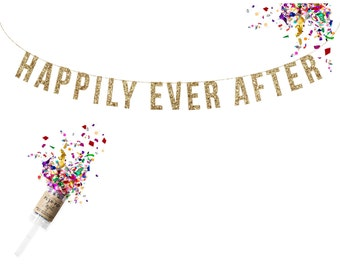 HAPPILY EVER AFTER Glitter Garland. Wedding Decor. Wedding Shower. Wedding Brunch Decor. Bar Cart. Champange Brunch Decor. Wedding Reception