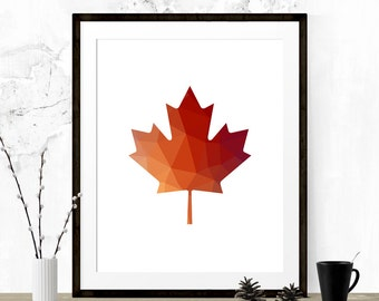 Red Orange Maple Leaf, Maple Leaf Print, Polygon Art, Maple Leaf Art, Geometric Art, Abstract, Polygon Print, Digital Maple Leaf, Wall Print