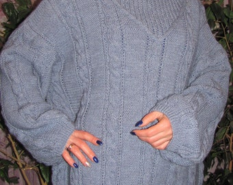 Beautiful blue female hand made sweater   Shipping worldwide from Ukraine