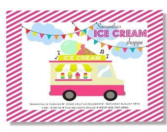 Ice Cream Truck Party invitation - printable - digital - 5x7 - custom invitation