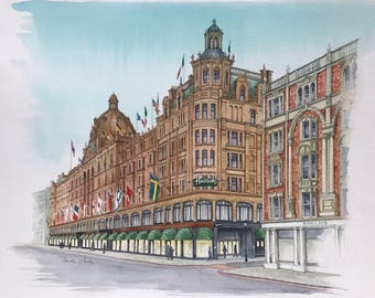 Harrods of London, Original Painting by Roisin O'Shea