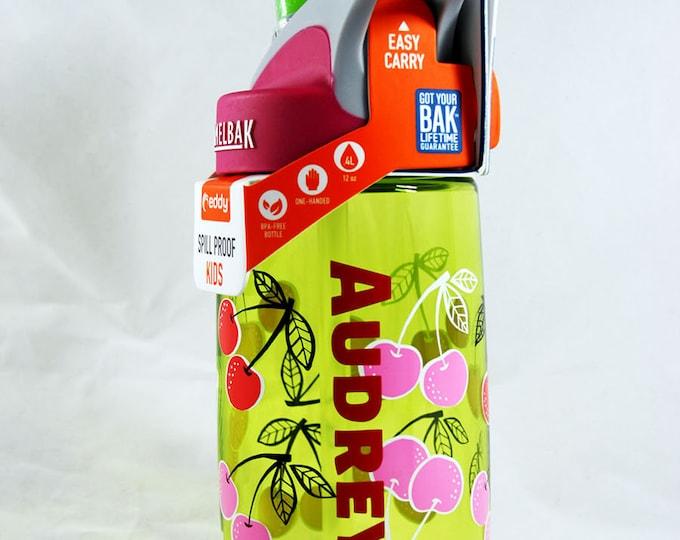 Personalized Kids CamelBak ® Water Bottle- Cherries-Bottle - Hydrate, Custom, Bite Valve, Toddler, Cherry, Fruit, Cute, Sparkle,Summer .4L