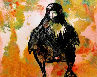 """Raven in command of his universe. The Stillness Broken.  A decorative CERAMIC TILE wall  art  - 10"""" x 8"""".  Free U.S. shipping."""