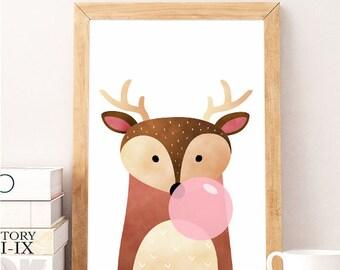 Deer Print, DEER GUM, Deer Antlers, Woodland Nursery, Deer Poster, Deer Head, Woodland Animals, Forest Animals, Animal Printable, Deer Decor