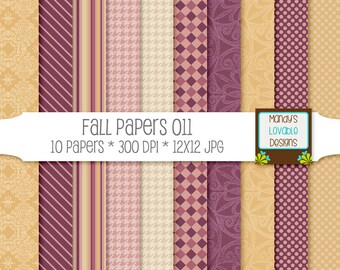 Fall Digital Pattern Papers - Photography Background - Web Blog Design - Scrapbooking - Burgundy Wine Gold Pink - High Resolution