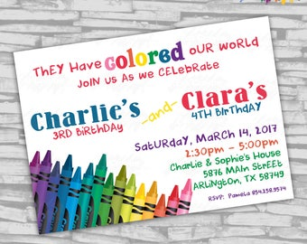 "Two Names Crayon Birthday Invitation - 5"" x 7"" - Digital File"