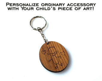 Your Child's Art Personalized Sketch Keychain Childrens' Drawing Engraved Kid Art Handwriting Gift for Grandparents Mothers Day Fathers Day