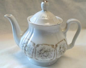 Dainty Vintage China Tea Pot with Floral Scene and Gold Trim