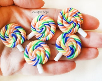 5 Rainbow Lollipop Clay Sweets Flatback Cabochons - 29mm
