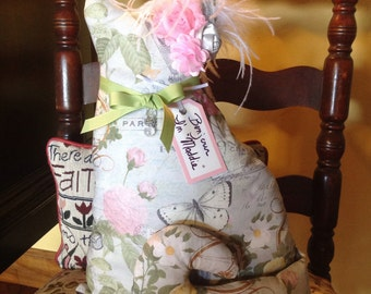 "Stuffed Cat ~ Cat Lover Gift ~ Paris fabric Cat ~ ""Maddie"""