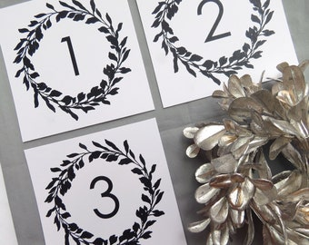 Wedding Table Numbers - Style 01 - MODERN Wreath COLLECTION
