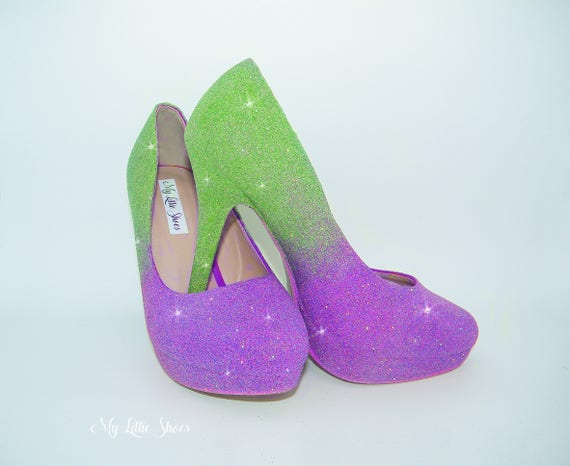 ~ Party Ball Date Bridesmaid high glitter heels and Wedding Green Pageant two Bridal Purple tone Graduation Bride Dance xq1w0gcT6a