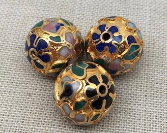 1 Vintage Gold Cloisonne Bead Round 10mm