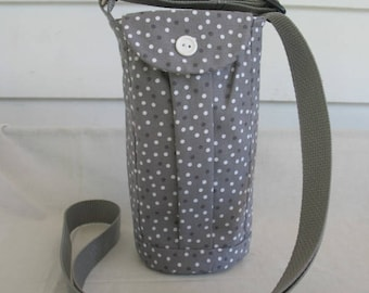 Water Bottle Holder Sling//Walkers Insulated Water Bottle Cross Body Bag// Hikers Water Bag- Gray Polka Dots