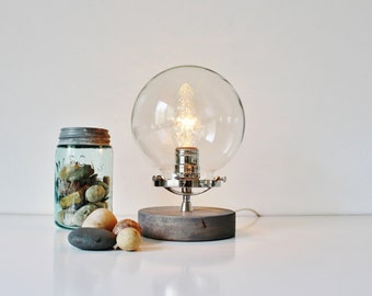 Globe Table Lamp, Industrial Chrome, Steel And Wood Desk Lamp, Round Clear  Glass