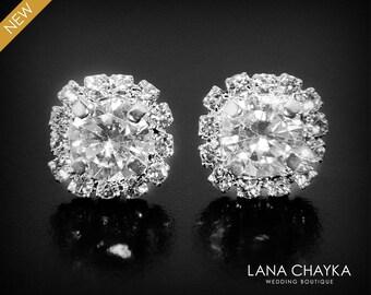 Cubic Zirconia Halo Earrings Crystal Silver Earrings Wedding Crystal Ear Studs Bridal Cubic Zirconia Stud Earrings Bridesmaid CZ Earrings