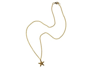 Gold Starfish necklace, starfish charm on gold necklace, summer jewelry, beach jewelry, beach wedding jewelry, gold starfish charm,
