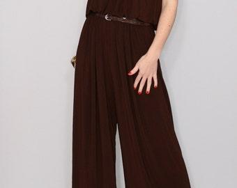 Jumpsuit women Brown Halter top Boho dress Bohemian clothing Handmade Wide leg pants Casual dress 70s jumpsuit Party dress Sleeveless
