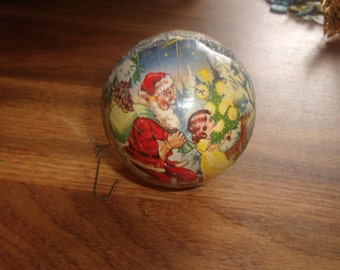vintage christmas tree ornament germany paper mache candy gift container