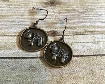 Antiqued elephant earrings