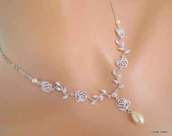 cubic zirconia Pearl Necklace rhinestone Necklace Bridal Necklace Crystal necklace flower and leaf vintage style wedding necklace MEADOW